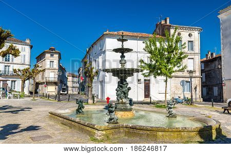 Fountain on Place du Minage in Angouleme, the Charente department of France