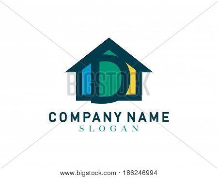 Home letter D design on white background