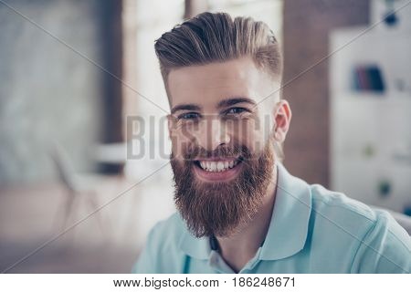 Close Up Portrait Of Stylish Handsome Man With Beaming Smile. He Has Great Hairdo