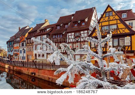 Medieval multicolored half-timbered houses on canals on Christmas Day. Colmar. France. Alsace.
