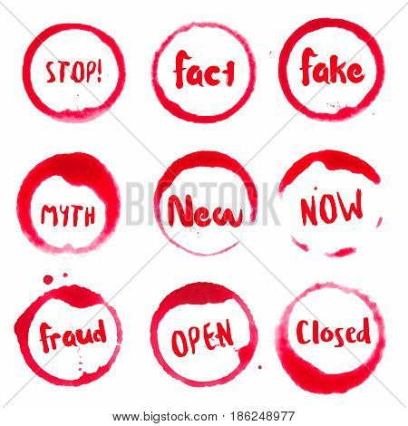 Common Words Collection Of Round Watercolor Stains With Stop!, Fact, Fake, Myth, New, Now, Fraud, Op