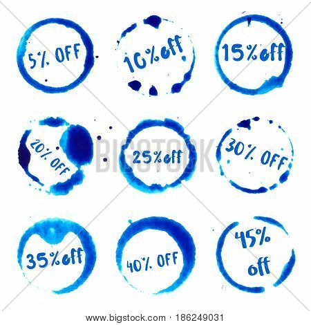 Discount 5-45% Off Collection Of Round Watercolor Stains With 5-45% Off Text. Set Of Vector Discount