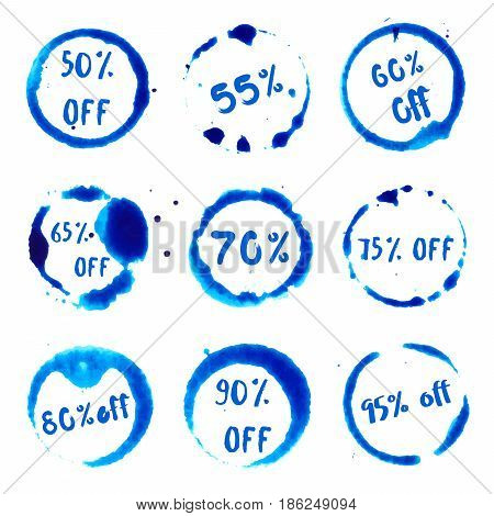 Discount 50-95% Off Collection Of Round Watercolor Stains With 50-95% Off Text. Set Of Vector Discou