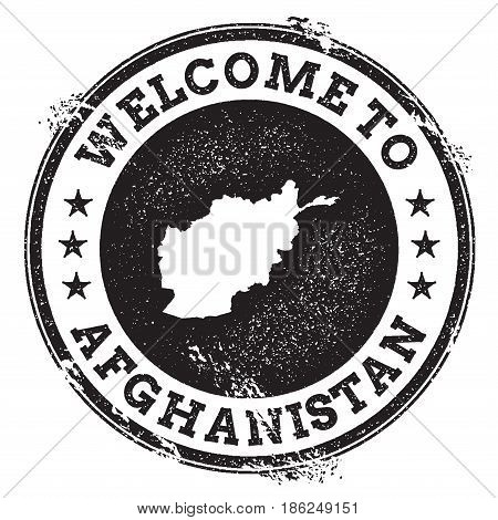 Vintage Passport Welcome Stamp With Afghanistan Map. Grunge Rubber Stamp With Welcome To Afghanistan
