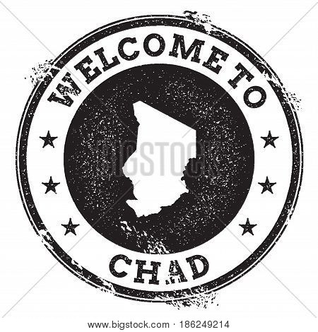 Vintage Passport Welcome Stamp With Chad Map. Grunge Rubber Stamp With Welcome To Chad Text, Vector