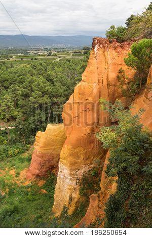 Orange red cliffs of the Luberon region in France