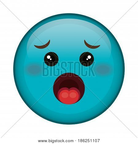 worried face emoticon kawaii character vector illustration design