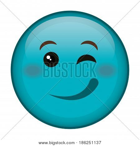 flirtatious face emoticon kawaii character vector illustration design