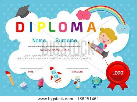 Certificate kids diploma, kindergarten template layout space background frame design vector. Diploma template for kindergarten students, Certificate of kids diploma, education preschool concept.