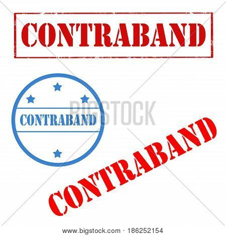 Set of stamps with text Contraband,vector illustration