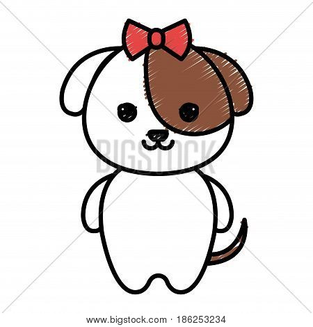 cute and tender female dog kawaii style vector illustration design