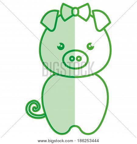cute and tender female piggy kawaii style vector illustration design