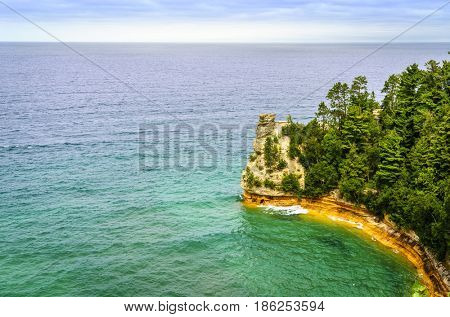 Scenic view of Miners Castle rock formation in Pictured Rocks National Lakeshore on Upper Peninsula, Michigan