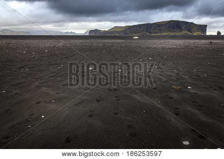 Black sand beach near village of Vik on Southern coast of Iceland