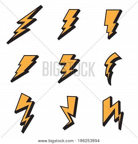 Lightning bolt icon isolated on a white background. Vector illustration