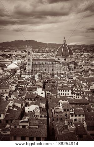 Florence Cathedral viewed from Tower of Arnolfo at Palazzo Vecchio rooftop view