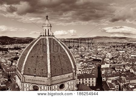Duomo Santa Maria Del Fiore dome and skyline in Florence Italy.