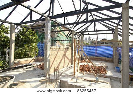 Metal roof structure of under construction house