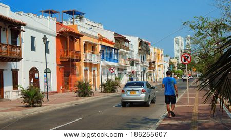 Cartagena de Indias, Bolivar / Colombia - April 10 2016: Activity in the downtown of the port city. Cartagena's colonial walled city and fortress were designated a UNESCO World Heritage Site