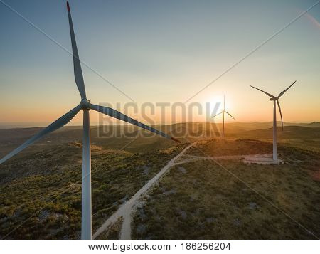 Aerial view of windmills at sunset, Croatia.