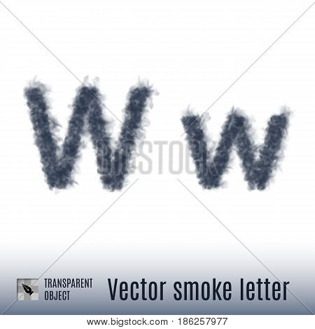 Smoke in Shape of the Letter W on White Background