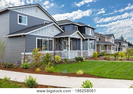Tract homes in new subdivision in North American suburban residential neighborhood