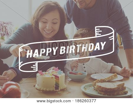 Family happy time party birthday together