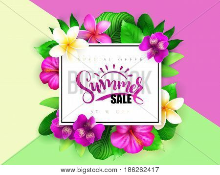 Vector summer sale banner with hand lettering and tropical flowers - alstroemeria, plumeria, hibiscus and leaves.