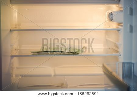 Euro banknotes in an empty refrigerator:a handful of 100 euros banknotes in an empty refrigerator.