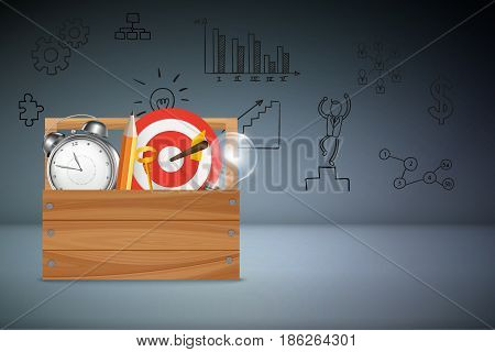 Business Success Concept Background : Alarm clock, light bulb, pencil, keys and dart with dartboard are business instrument in tools box.