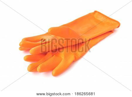 Orange color rubber gloves for cleaning on white background housework concept