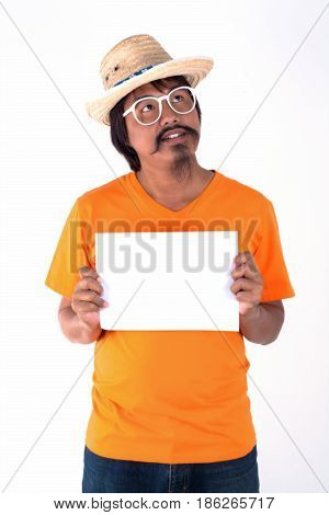 man holding billboard blank isolated on white.