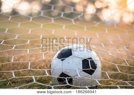 Image of soccer ball in goal, Sport concept.