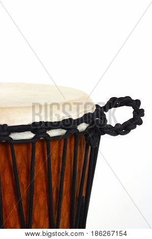 djembe african percussion handmade wooden drum with goat skin