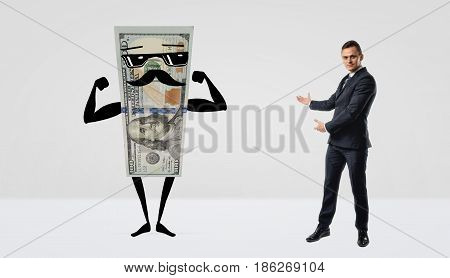 A businessman presenting a huge cool dollar bill with moustache and sunglasses standing beside him. Idea presentation. Promotion show. Pilot project.