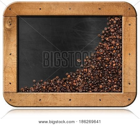 Roasted coffee beans in an empty blackboard with wooden frame and copy space. Isolated on white background