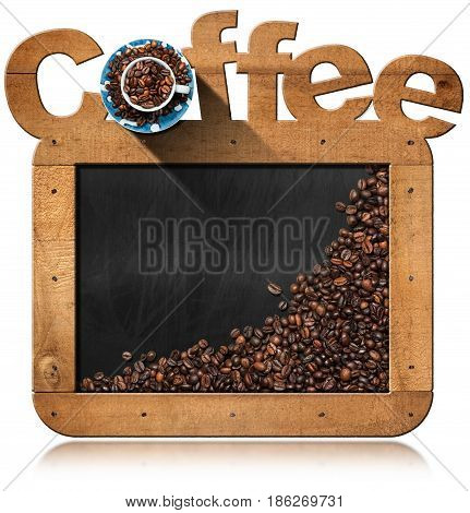 Roasted coffee beans in a blackboard with wooden frame with text Coffee coffee cup and copy space. Isolated on white background