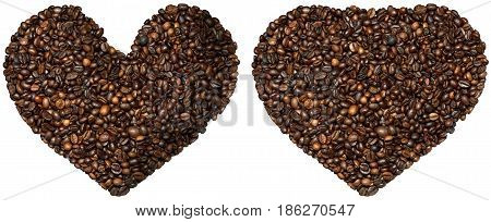 Two heart shaped symbols with toasted coffee beans. Isolated on white background. Love Coffee