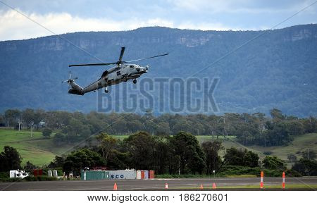 Albion Park Australia - May 6 2017. MH-60R Seahawk Romeo is a submarine hunter and anti-surface warfare helicopter. Wings Over Illawarra is an annual air show held at Illawarra Regional Airport.