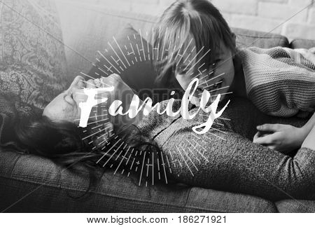 Family Love Mother Daughter Together Quality Time Word Graphic