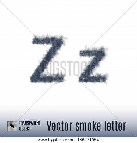 Smoke in Shape of the Letter Z on White Background