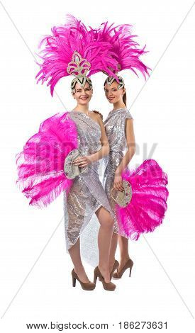 Beautiful Girls In Carnival Costume, Isolated On White Background.
