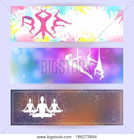 Aero yoga horizontal banners. Flyer design. Background with silhouette of woman. Vector illustration