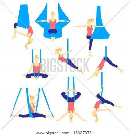 Aero yoga flat icons. Women performing asanas in a hanging hammock. Logo design. Vector illustration.