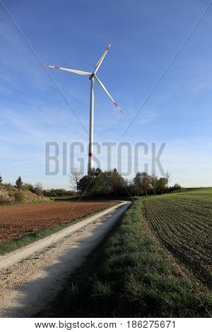 renewable energy with a wind whell on a field