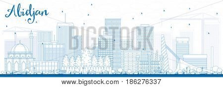 Outline Abidjan Skyline with Blue Buildings. Business Travel and Tourism Concept with Modern Architecture. Image for Presentation Banner Placard and Web Site.