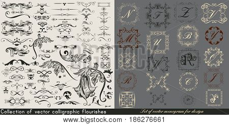 Huge collection or set of vintage vector flourishes and monograms for design
