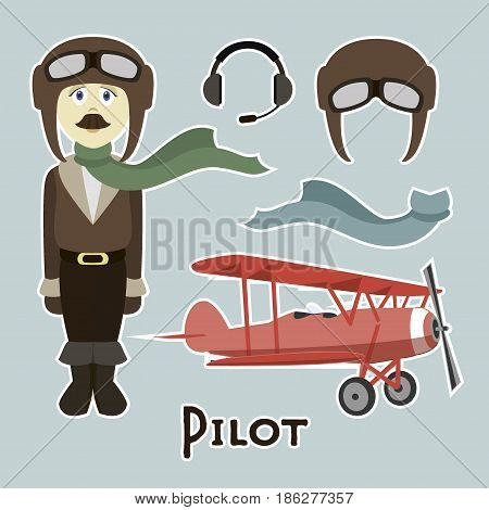Pilot in uniform flat design style, isolated on lighht background. Avatars pilot. Vector illustration.