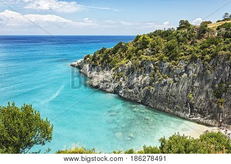 Beach in the bay of Xigia with sulfur springs on the island of Zakynthos (Greece)