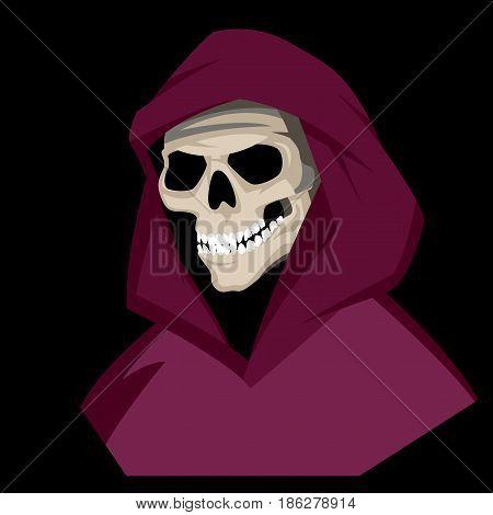 human skull in the hood vector illustration Flat  style